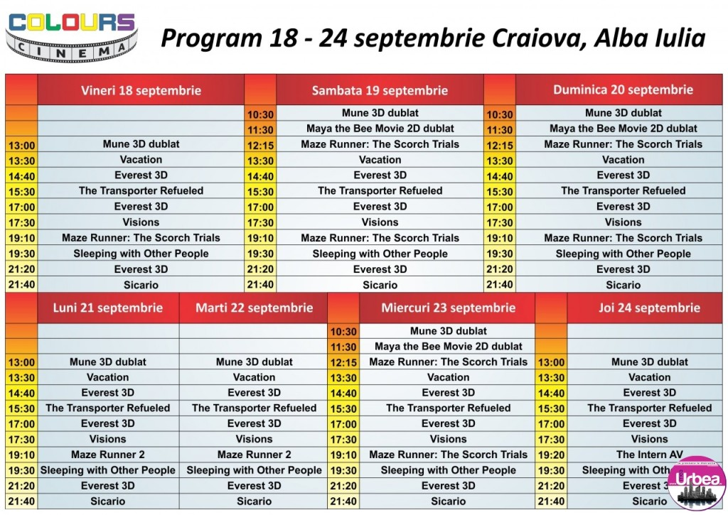 Program 18 - 24 septembrie Ab, Cr FB