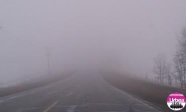 Ceață densă pe DN1, între Alba Iulia și limita cu județul Cluj. Vizibilitate sub 100 de metri