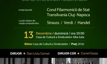 """DUMINICĂ: Concert extraordinar de Crăciun, la Alba Iulia cu Orchestra de cameră """"Augustin Bena"""" şi Corul Filarmonicii de Stat Transilvania"""