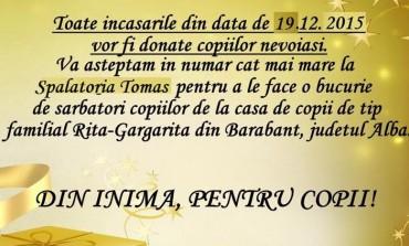 """Fii şi tu Moş Crăciun! Alătură-te campaniei """"Din inimă, pentru copii!"""" şi fă un cadou copiilor nevoiaşi din Alba Iulia"""