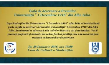 """JOI: Gala Premiilor Universității """"1 Decembrie 1918"""" din Alba Iulia, la Casa de Cultură a Studenților"""