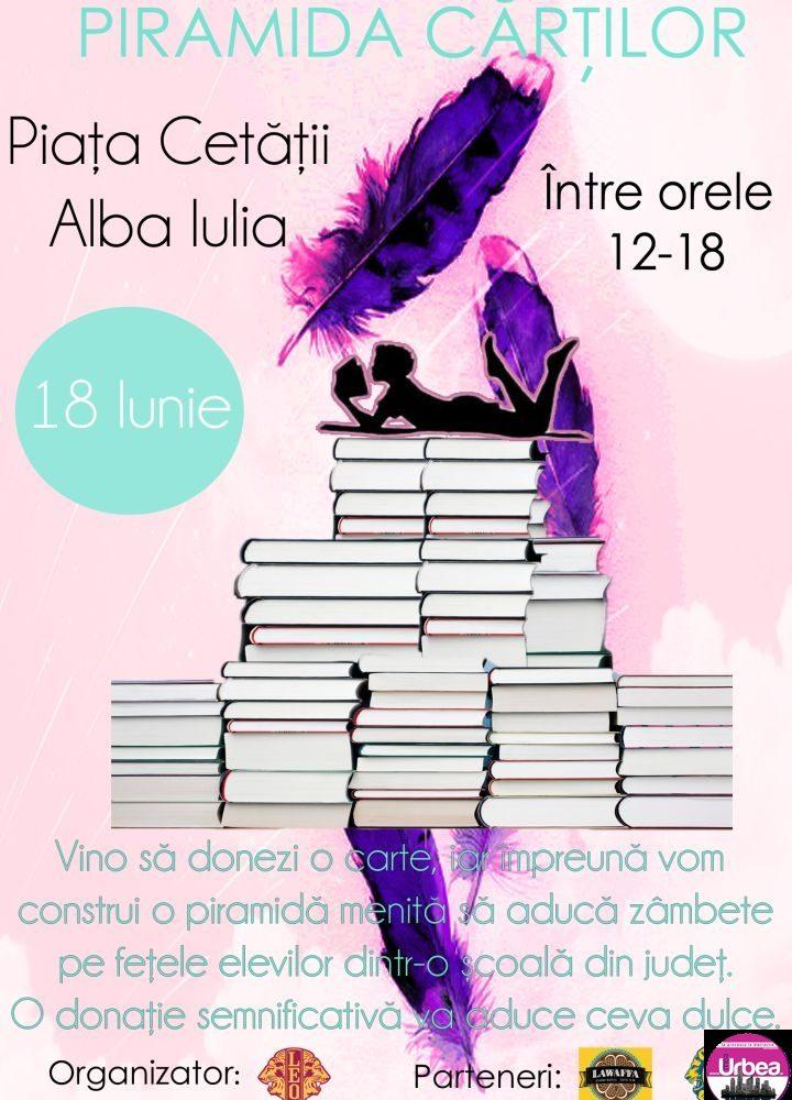 """18 IUNIE: """"Piramida Cărţilor"""", în Piața Cetății pentru dotarea unei biblioteci într-un sat din Alba"""