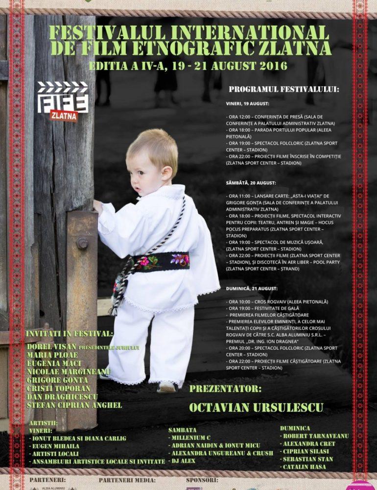 19-21 august: Festivalul Internaţional de Film Etnografic (FIFE) Zlatna. Paradă, concerte, lansări de carte și proiecții: Programul