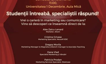 """SÂMBĂTĂ: """"Marketing după Perdea"""", la Alba Iulia. Studenții pasionați de marketing și comunicare vor primi sfaturi de la specialiști"""