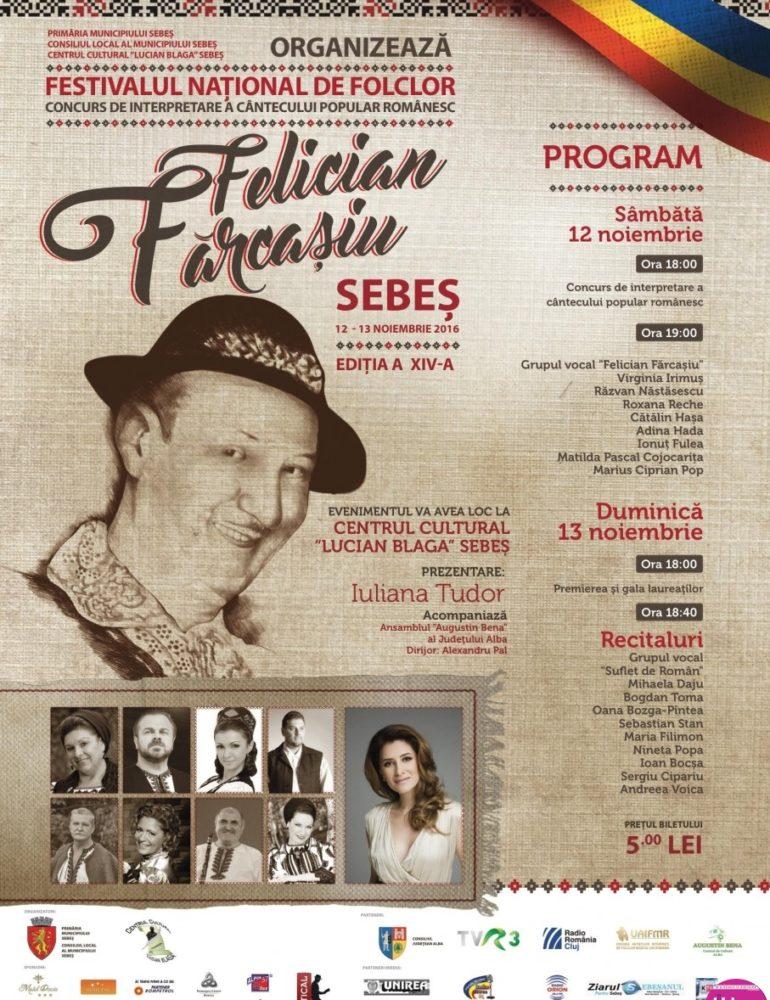 """11-13 noiembrie: Festivalul Concurs de Folclor """"Felician Fărcașiu"""", la Centrul Cultural """"Lucian Blaga"""" din Sebeș"""