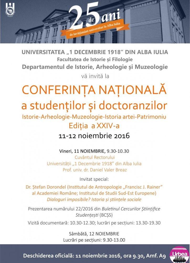 11-12 noiembrie: Conferința națională a studenților și doctoranzilor din domeniul Istoriei, la UAB