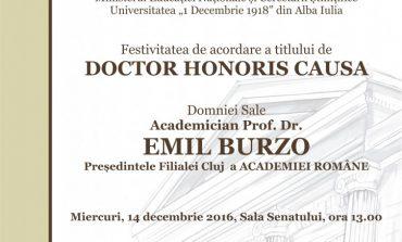 """Miercuri: Preşedintele Filialei Cluj a Academiei Române va primi titlul de Doctor Honoris Causa din partea Universităţii """"1 Decembrie 1918"""" din Alba Iulia"""