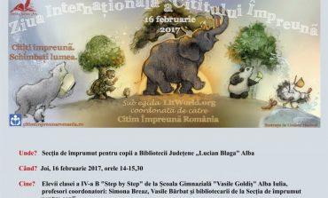 """Joi: Biblioteca Județeană """"Lucian Blaga"""" din Alba Iulia sărbătoreşte """"Ziua Mondială a Cititului Împreună"""""""