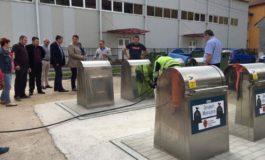 FOTO: Primele 8 platforme subterane de colectare a deşeurilor menajere din Municipiul Sebeş au fost testate şi puse în folosinţă