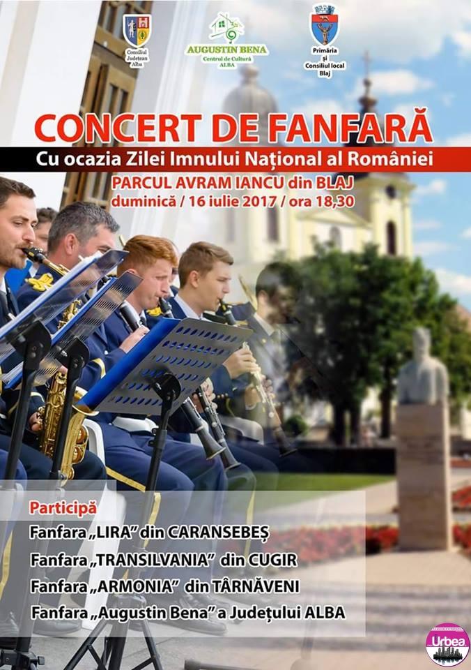 Duminică: Ziua Imnului Naţional al României, marcată la Blaj printr-un concert extraordinar de fanfară