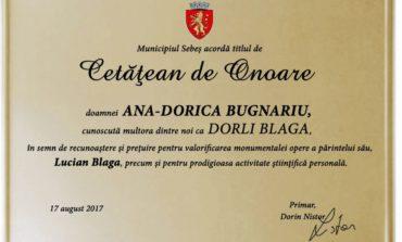 Dorli Blaga, fiica marelui poet și filozof Lucian Blaga, Cetățean de Onoare al Municipiului Sebeș