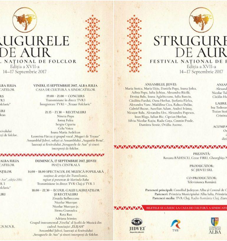 """14-17 septembrie: A XVII-a ediţie a Festivalului Național de Folclor """"Strugurele de Aur"""", la Alba Iulia şi Jidvei. PROGRAM"""