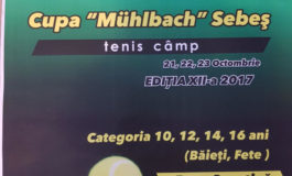 21-23 octombrie: Cupa Muhlbach Sebeş la tenis. Peste 100 de sportivi sunt aşteptaţi la Baza sportivă Arini