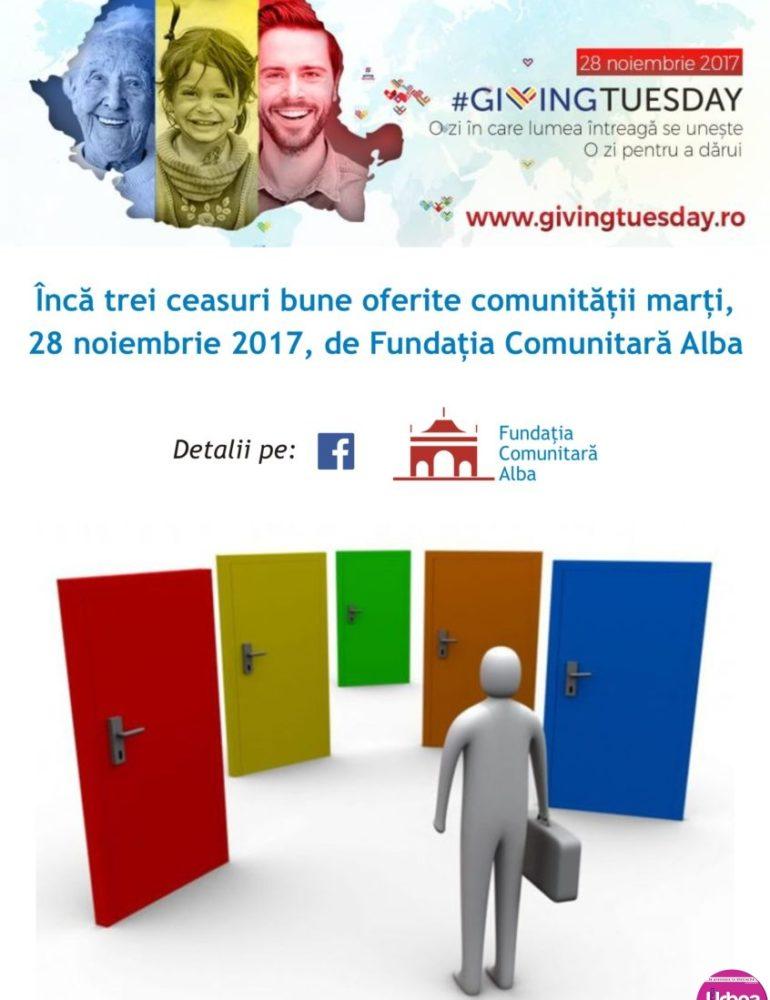 Marţi: Giving Tuesday, la Fundaţia Comunitară Alba. Consiliere în orientarea în carieră pentru adolescenți și nu numai