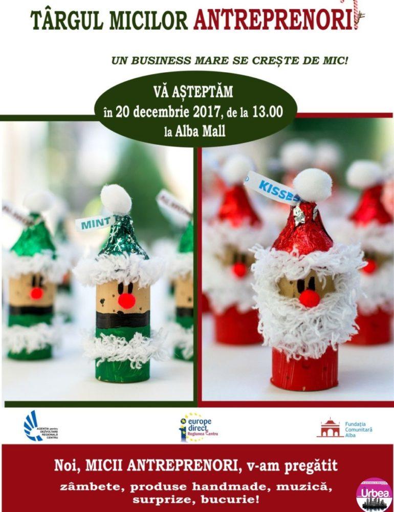 20 decembrie: Târgul micilor antreprenori, la Alba Mall. Peste 140 elevi de clasa a IV-a lucrează în echipă şi vor vinde produse handmade