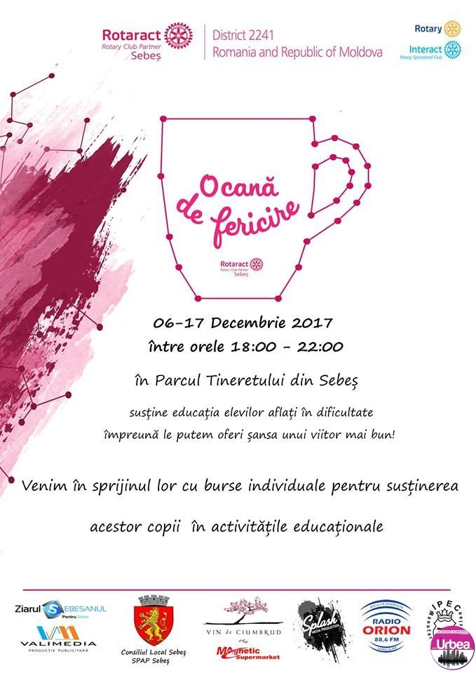 """6-17 DECEMBRIE: """"O cană cu fericire"""", la Sebeş. Banii adunaţi vor ajunge la elevii cu venituri mici și note mari"""