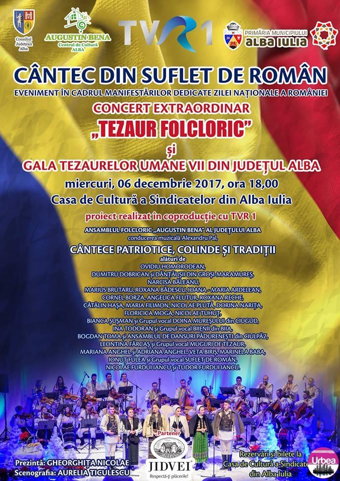 """MIERCURI: Concert extraordinar """"Tezaur Folcloric – Cântec din suflet de român"""", la Casa de Cultură a Sindicatelor din Alba Iulia"""