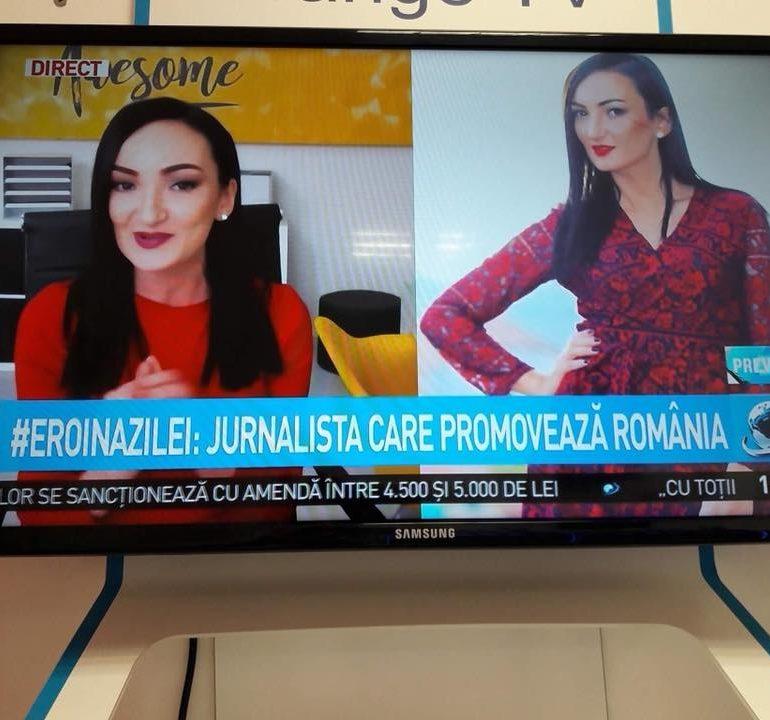 """FOTO-VIDEO: Andreea Bogdan, o talentată jurnalistă din Alba, denumită """"#EROINAZILEI"""" la o rubrică dintr-o emisiune a unei televiziuni naționale"""
