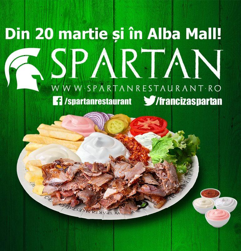"""Din 20 martie, lanţul de restaurante cu specific grecesc """"Spartan"""" ajunge şi la Alba Iulia, în Alba Mall"""