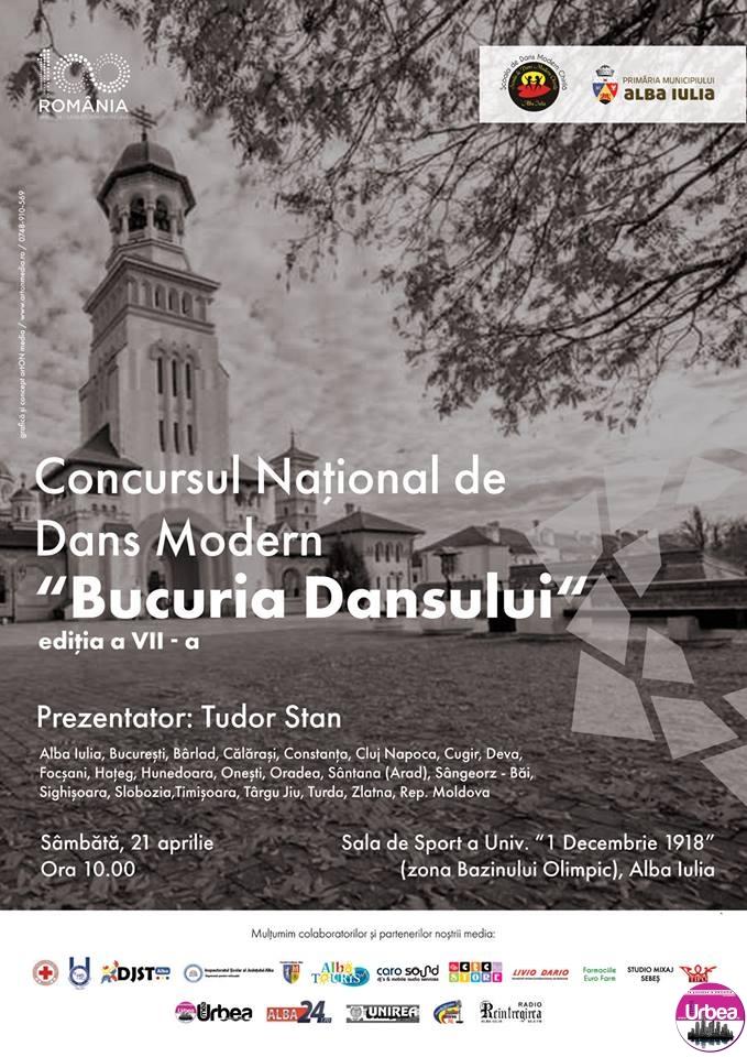 """20-22 aprilie: A VII-a ediţie a Concursului Național de Dans Modern """"Bucuria Dansului"""", la Alba Iulia"""