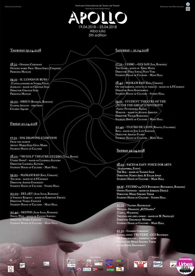 """De astăzi se dă startul Festivalului Internațional de Teatru de Tineret """"Apollo"""". Programul pentru ziua de JOI"""