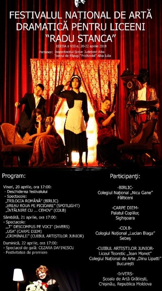 """20-22 aprilie: Festivalul Național de Artă Dramatică pentru liceeni """"Radu Stanca"""", la Sebeș. Programul evenimentului"""