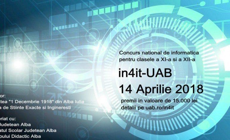 """SÂMBĂTĂ: Concursul de informatică """"in4it"""", la Universitatea  """"1 Decembrie 1918"""" din Alba Iulia"""