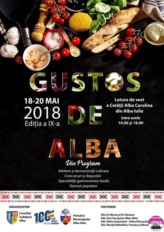 18-20 mai: Târgul Gustos de Alba. Specialităţi gastronomice locale, demonstraţii culinare, concursuri şi dansuri populare, pe Latura de Vest a Cetăţii Alba Carolina. PROGRAM