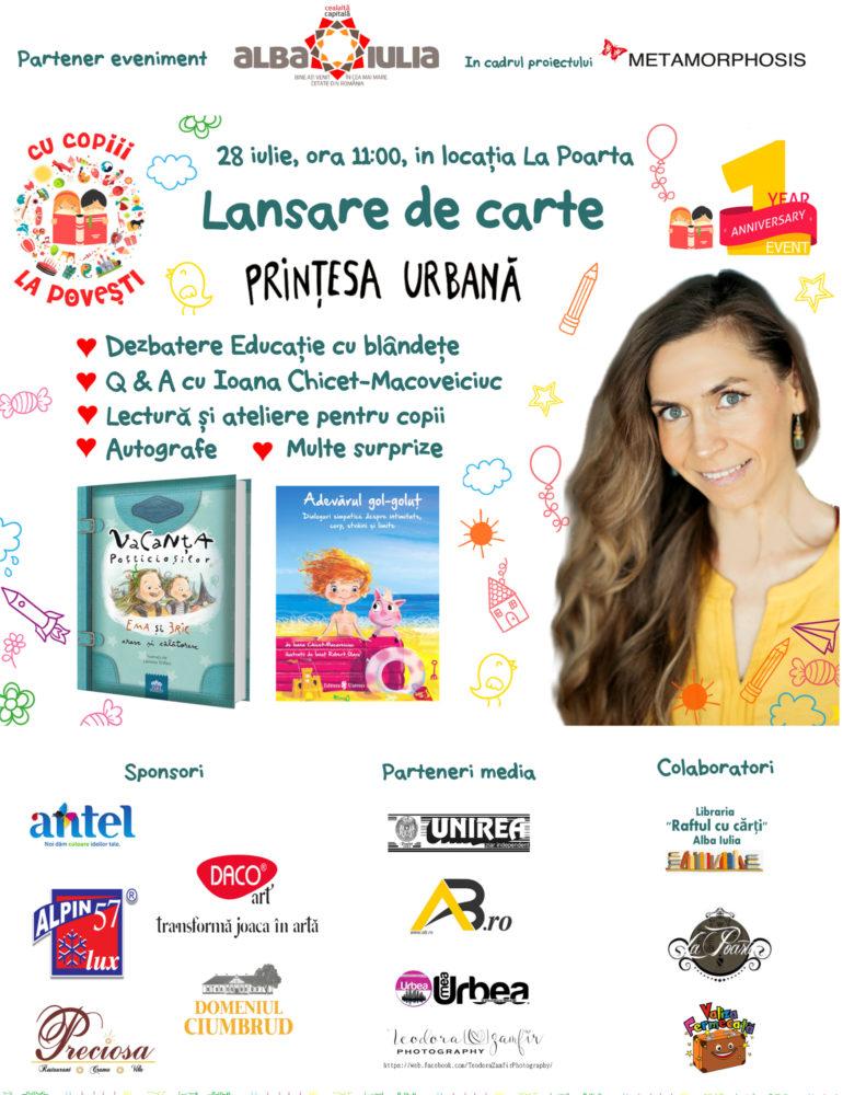 """ASTĂZI: Clubul de Carte """"Cu copiii la poveşti"""" o aduce în Alba Iulia pe mult îndrăgita Prințesa Urbană pentru un eveniment special"""
