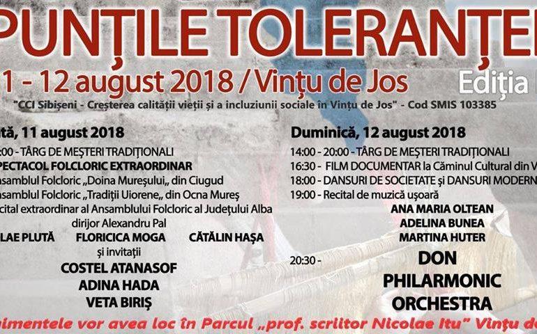 """11-12 august: Festivalul """"Punţile Toleranţei"""" la Vinţu de Jos. PROGRAM"""