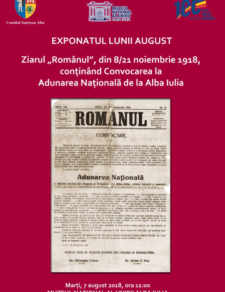 Marţi: Ziarul Românul, din 8/21 noiembrie 1918, exponatul lunii august la Muzeul Naţional al Unirii din Alba Iulia