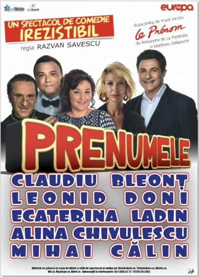 """21 octombrie: Spectacolul """"Prenumele"""" pe scena Casei de Cultură a Sindicatelor din Alba Iulia"""