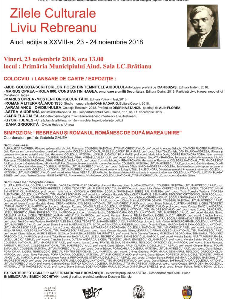 23-24 noiembrie: Zilele Culturale Liviu Rebreanu 2018, la Aiud. PROGRAM