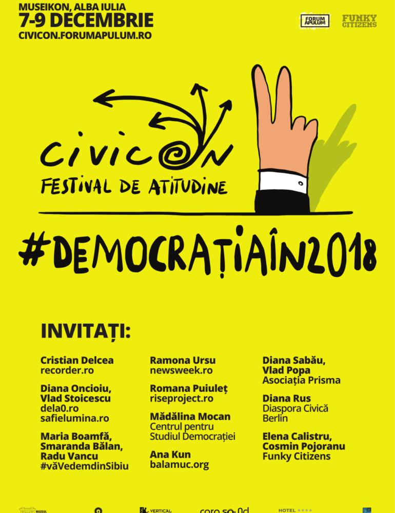 7 – 9 decembrie: CivicON 2018  – ediția a II-a a festivalului de atitudine organizat de Forum Apulum la Alba Iulia
