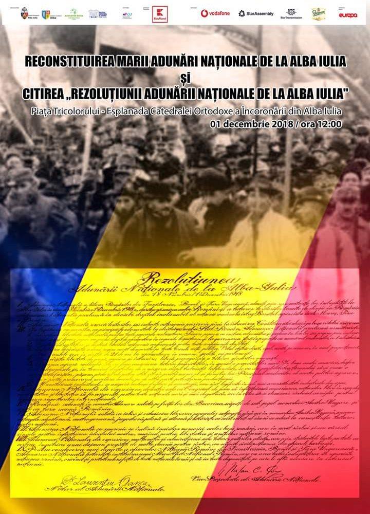 Marea Adunare Națională de la Alba Iulia va fi reconstituită într-un moment cu încărcătură simbolică. Nucleu va fi format din peste 3.000 de persoane îmbrăcate în costume populare