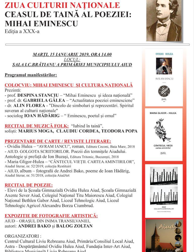 """Marți: """"Ceasul de taină al poeziei: Mihai Eminescu"""", ediţia a XXX-a, la Aiud. Programul manifestărilor"""