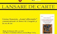 """Marți: Lansare volumului """"Lanțul slăbiciunilor"""" semnat de Cristian Stamatoiu, la Centrul Cultural """"Lucian Blaga"""" Sebeș"""
