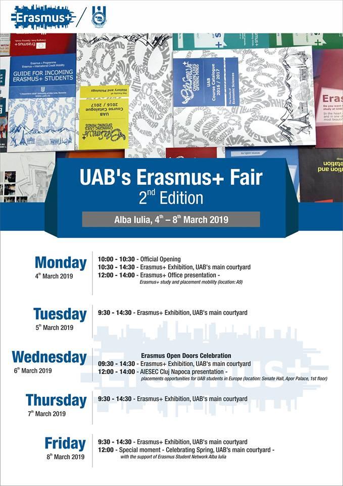 """4-8 martie: A doua ediție a Târgului Erasmus+  organizat de Universitatea """"1 Decembrie 1918"""" din Alba Iulia"""