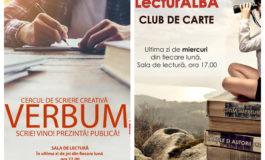 """27-29 martie: LecturAlba, Verbum, Seratele bibliotecii – întâlniri culturale propuse de Bibliotecii Județene ,,Lucian Blaga"""" Alba la final de lună martie"""