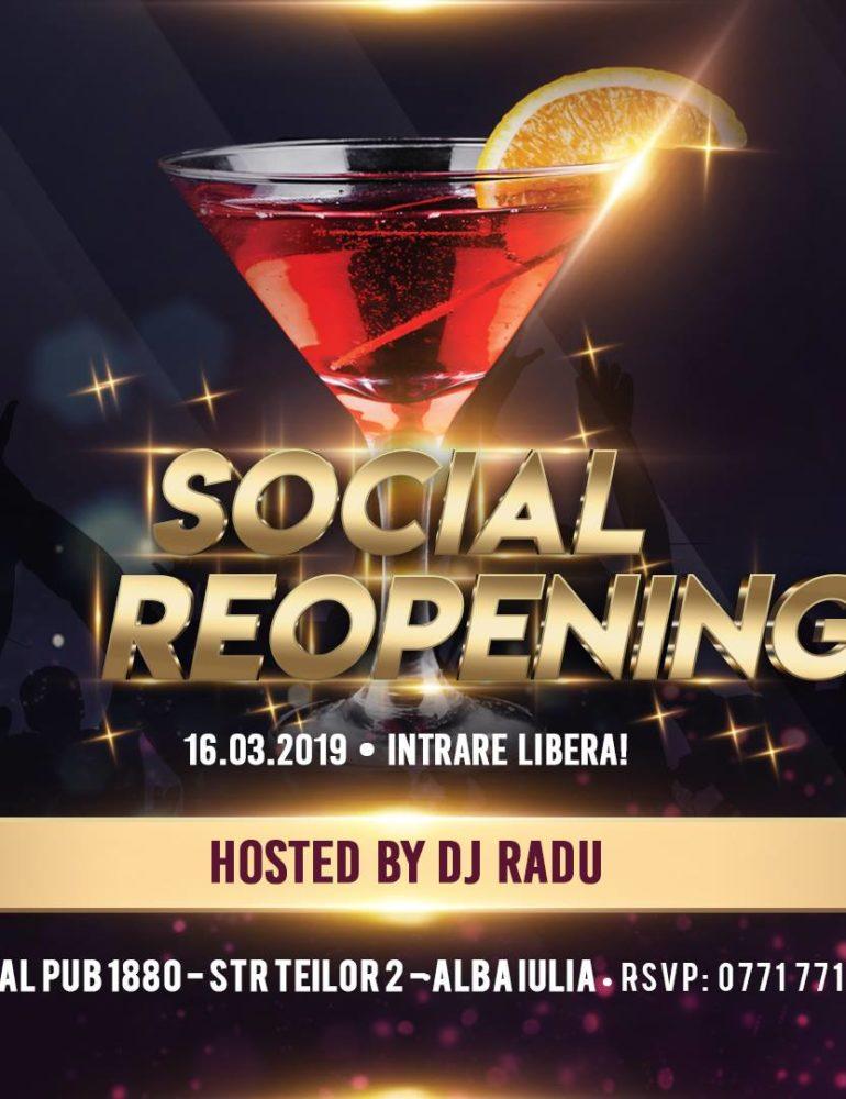 Sâmbătă 16 martie- Social Pub Re-opening Party
