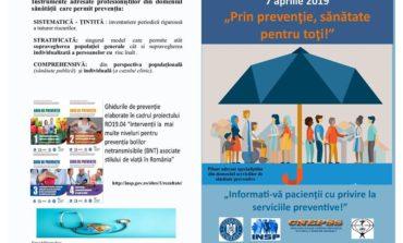 """7 aprilie 2019 – Ziua Mondială a Sănătății, desfășurată sub sloganul """"Prin prevenție, sănătate pentru toți!"""""""