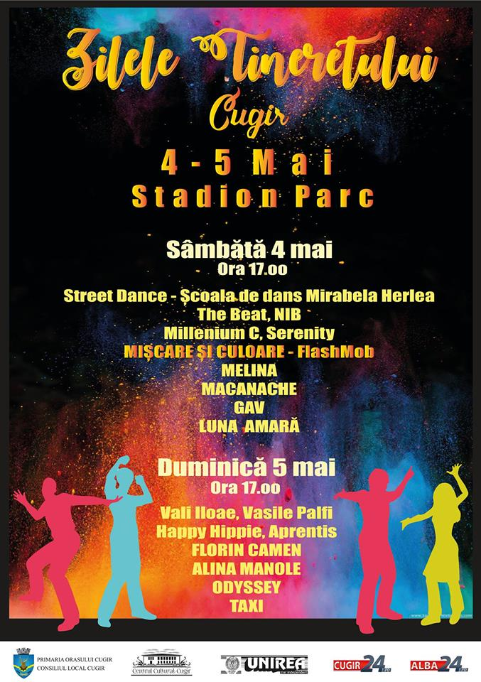 """4 – 5 MAI: Festivalul """"Zilele Tineretului"""", la Cugir. Două zile pline de culoare, muzică live și distracție"""