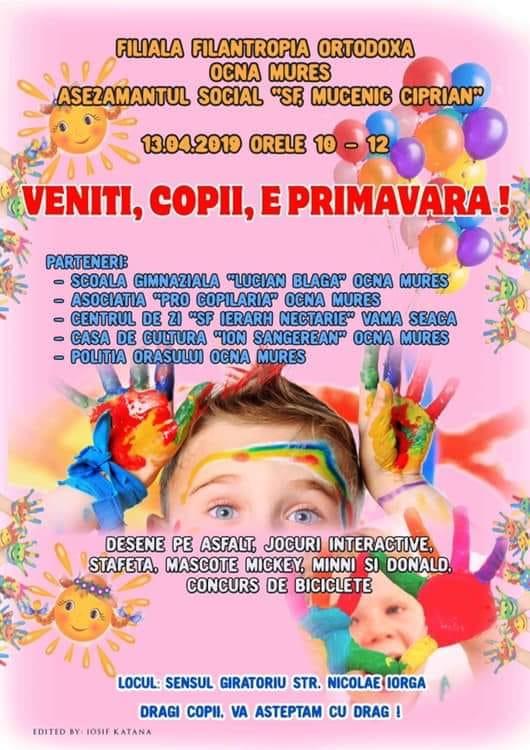 Sâmbătă: Activitate recreativă dedicată copiilor, la Ocna Mureș