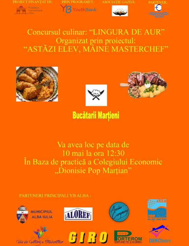 "Vineri: Desfășurarea concursului ""Astăzi ELEV, mâine MASTERCHEF"", la Colegiul Economic din Alba Iulia"