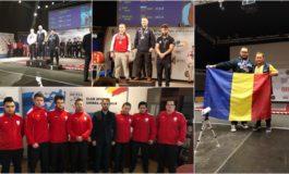 FOTO: Imnul României, la Campionatele Europene de Powerlifting, după ce Alexandru Catarambă, sportiv legitimat la CS Unirea Alba Iulia, a obținut aurul