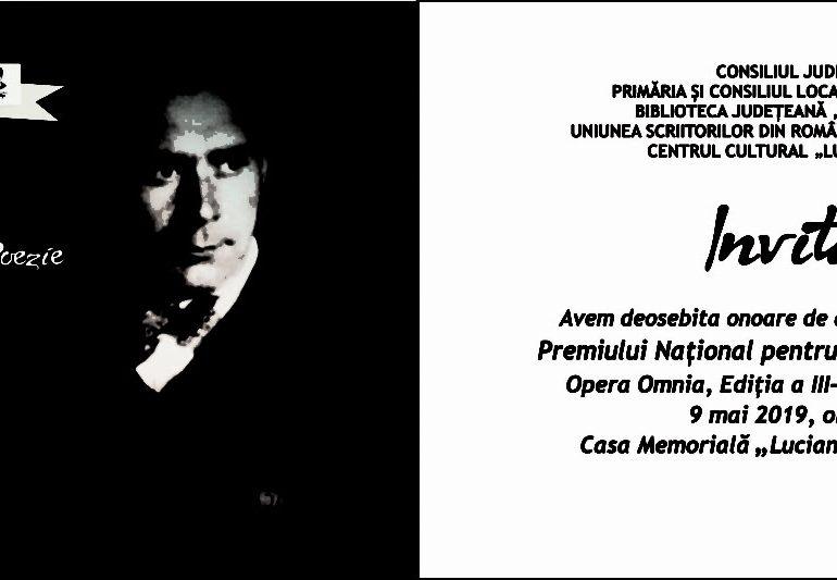 """JOI: Premiul Național de Poezie """"Lucian Blaga"""" – Opera Omnia, ediția a III-a"""