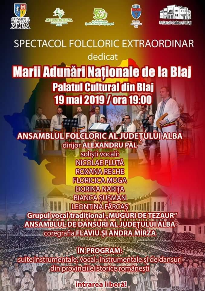 Duminică: Spectacol folcloric dedicat Marii Adunării Naționale de la Blaj