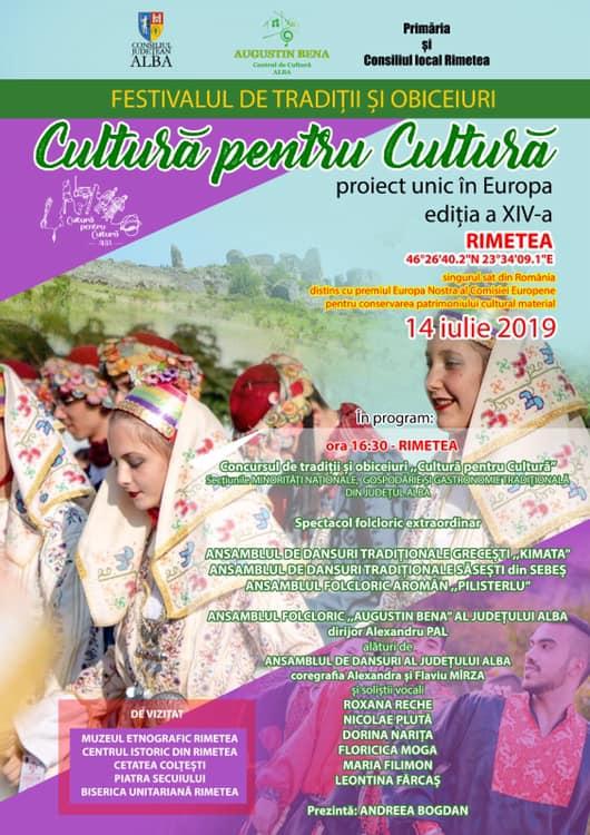 """Festivalul – concurs de tradiții și obiceiuri """"Cultură pentru Cultură"""" – etapa minorități naționale, duminică, la Rimetea"""