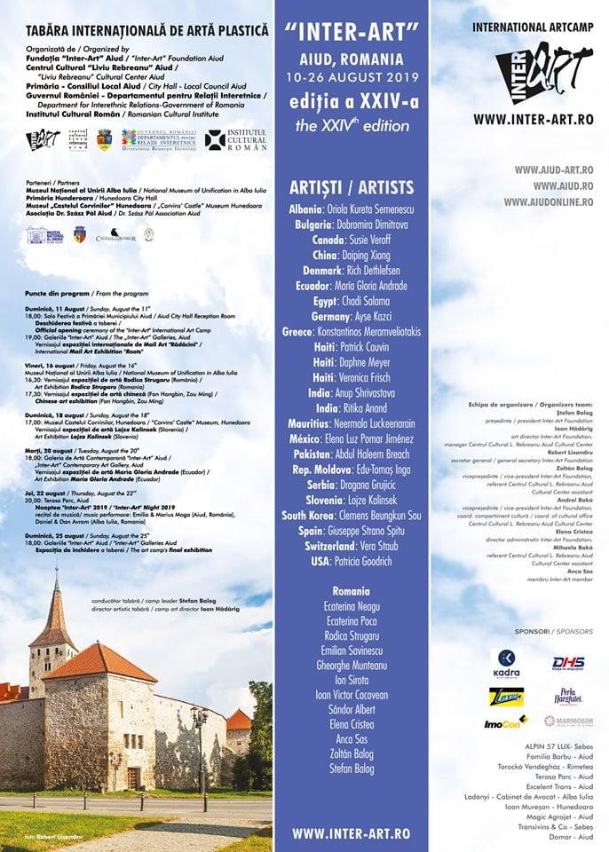 """10-26 august: Tabăra Internaţională de Artă Plastică """"Inter-Art"""" Aiud, ediţia a XXIV-a. PROGRAM"""