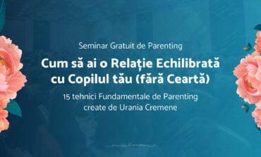 20 august: Seminar gratuit de parenting cu Urania Cremene